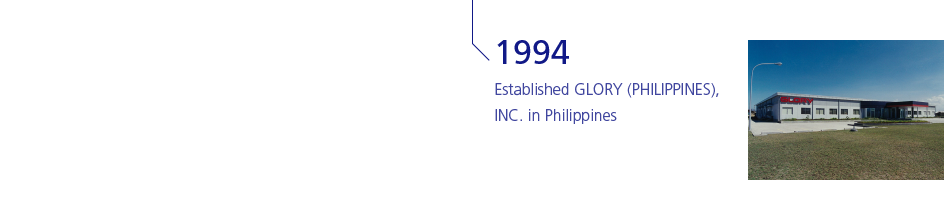 1994 Established GLORY (PHILIPPINES), INC. in Philippines