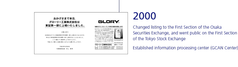 2000 Changed listing to the First Section of the Osaka Securities Exchange, and went public on the First Section of the Tokyo Stock Exchange