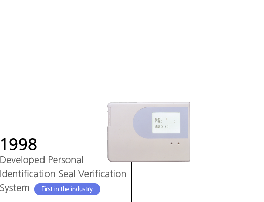 1998 Developed Personal Identification Seal Verification System First in the industry