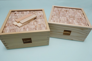 Finished wooden building blocks