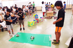 Playing soccer game with the robot