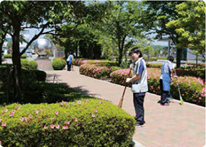 Glory Friendly employees cleaning a public area