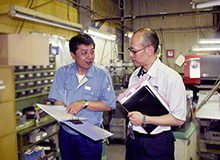 Visit to a supplier for production process inspection