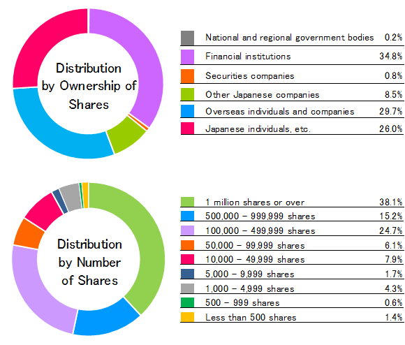 Distribution by ownership of shares